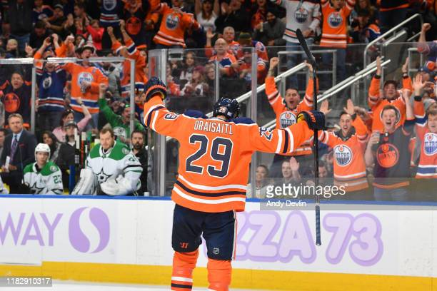 Leon Draisaitl of the Edmonton Oilers celebrates after scoring a goal during the game against the Dallas Stars on November 16 at Rogers Place in...