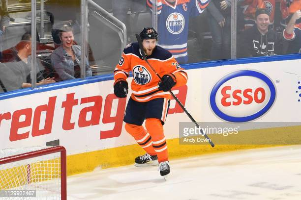 Leon Draisaitl of the Edmonton Oilers celebrates after scoring the game winning goal against the New York Rangers on March 11 2019 at Rogers Place in...