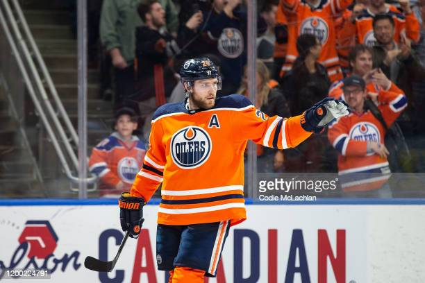 Leon Draisaitl of the Edmonton Oilers celebrates his empty net goal against the Chicago Blackhawks at Rogers Place on February 11 in Edmonton Canada