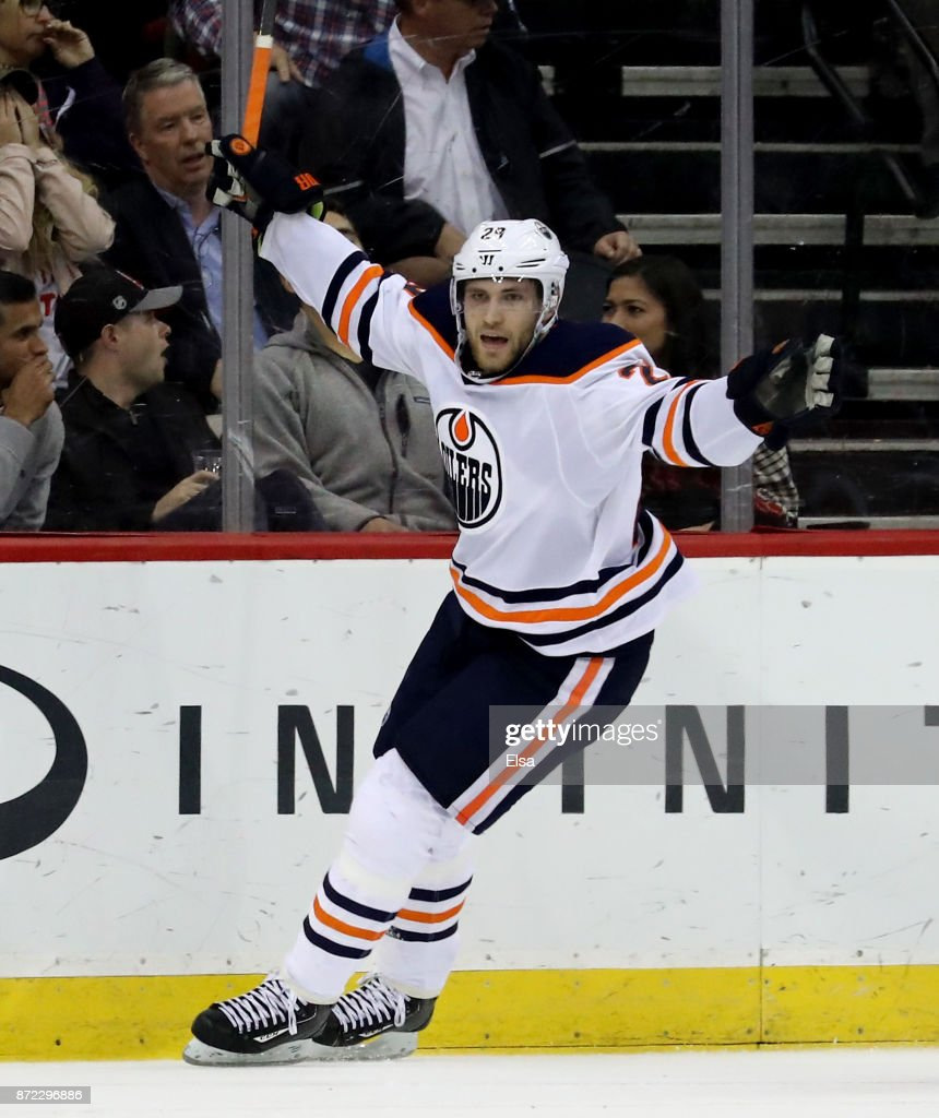 Leon Draisaitl #29 of the Edmonton Oilers celebrates his game winning goal in overtime against the New Jersey Devils on November 9, 2017 at Prudential Center in Newark, New Jersey.The Edmonton Oilers defeated the New Jersey Devils 3-2 in overitme.