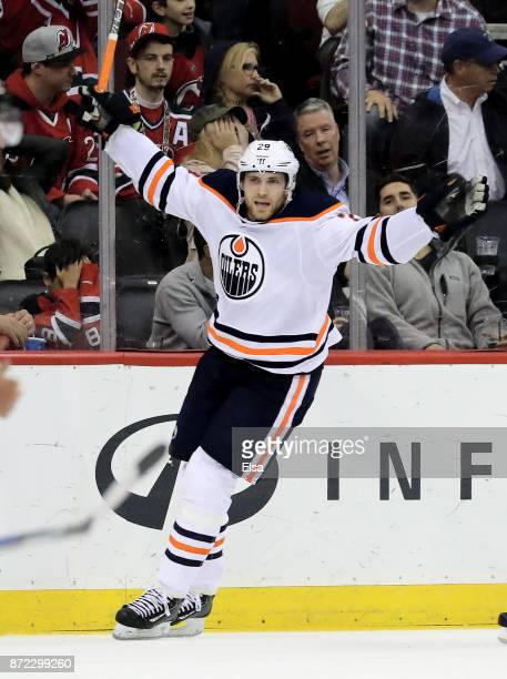 Leon Draisaitl of the Edmonton Oilers celebrates his game winning goal in overtime against the New Jersey Devils on November 9 2017 at Prudential...