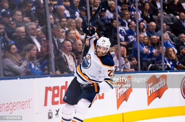 Leon Draisaitl of the Edmonton Oilers celebrates his goal against the Toronto Maple Leafs during the third period at the Scotiabank Arena on January...