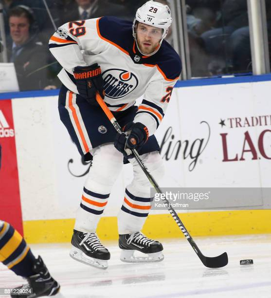 Leon Draisaitl of the Edmonton Oilers during the game against the Buffalo Sabres at the KeyBank Center on November 24 2017 in Buffalo New York