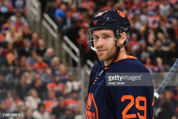 Leon Draisaitl of the Edmonton Oilers lines up for a face off during the game against the Los Angeles Kings on December 6 at Rogers Place in Edmonton...