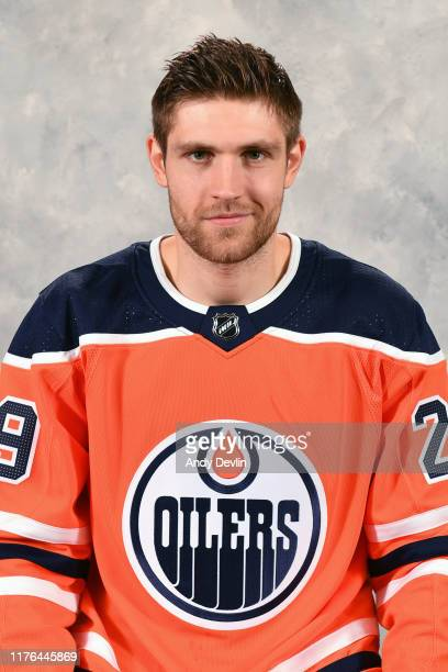 Leon Draisaitl of the Edmonton Oilers poses for his official headshot for the 20192020 season on September 10 2019 at Rogers Place in Edmonton...