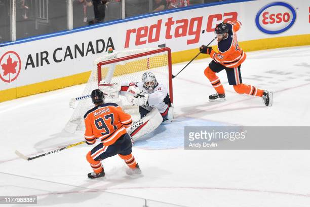 Leon Draisaitl of the Edmonton Oilers scores the game winning goal during the game against the Washington Capitals on October 24 at Rogers Place in...