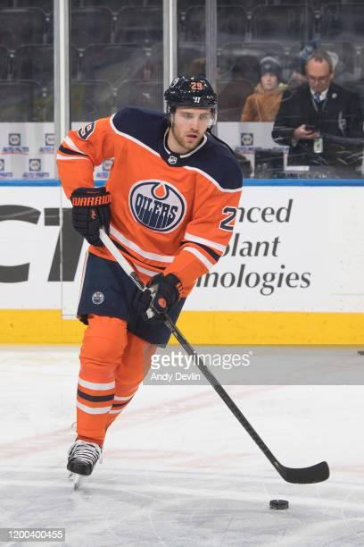 Leon Draisaitl of the Edmonton Oilers skates against the Arizona Coyotes on January 18 at Rogers Place in Edmonton Alberta Canada