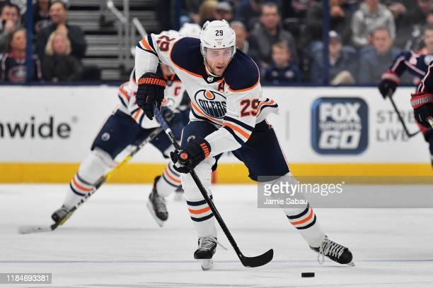 Leon Draisaitl of the Edmonton Oilers skates against the Columbus Blue Jackets on October 30 2019 at Nationwide Arena in Columbus Ohio