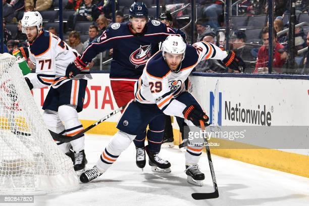 Leon Draisaitl of the Edmonton Oilers skates against the Columbus Blue Jackets on December 12 2017 at Nationwide Arena in Columbus Ohio