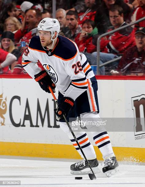 Leon Draisaitl of the Edmonton Oilers skates against the New Jersey Devils on November 9 2017 at Prudential Center in Newark New Jersey