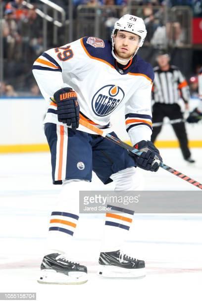 Leon Draisaitl of the Edmonton Oilers skates against the New York Rangers at Madison Square Garden on October 13 2018 in New York City The Edmonton...