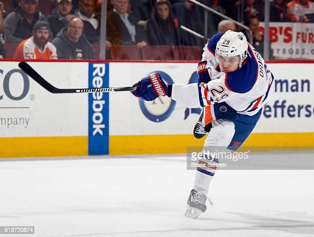 Leon Draisaitl of the Edmonton Oilers skates against the Philadelphia Flyers at the Wells Fargo Center on March 3 2016 in Philadelphia Pennsylvania...