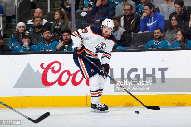 Leon Draisaitl of the Edmonton Oilers skates against the San Jose Sharks at SAP Center on February 10 2018 in San Jose California