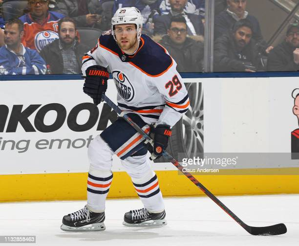 Leon Draisaitl of the Edmonton Oilers skates against the Toronto Maple Leafs during an NHL game at Scotiabank Arena on February 27 2019 in Toronto...