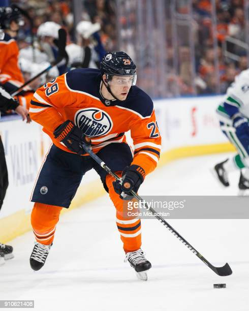 Leon Draisaitl of the Edmonton Oilers skates against the Vancouver Canucks at Rogers Place on January 20 2018 in Edmonton Canada