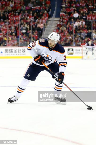 Leon Draisaitl of the Edmonton Oilers skates against the Washington Capitals during the first period at Capital One Arena on November 5 2018 in...