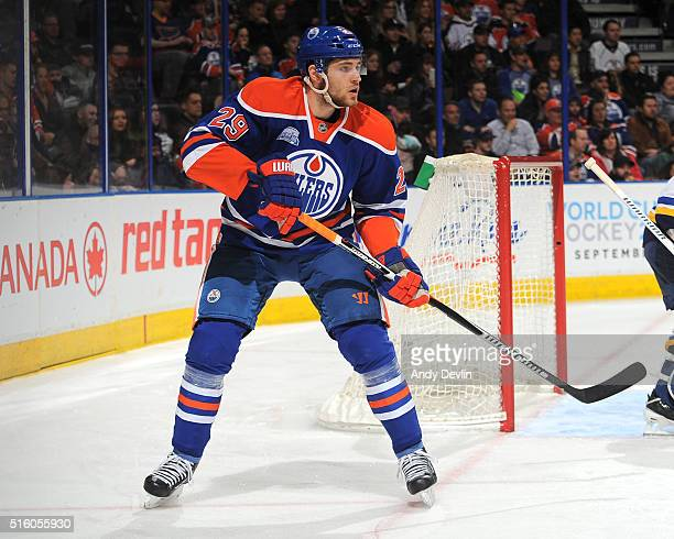 Leon Draisaitl of the Edmonton Oilers skates during a game against the St Louis Blues on March 16 2016 at Rexall Place in Edmonton Alberta Canada