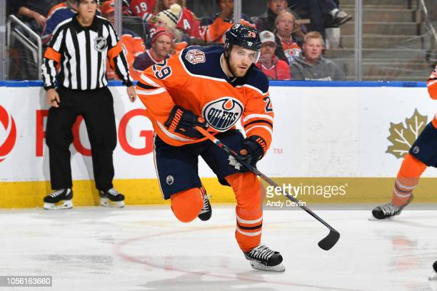 Leon Draisaitl of the Edmonton Oilers skates during the game against the Chicago Blackhawks on November 1 2018 at Rogers Place in Edmonton Alberta...