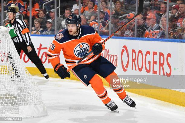 Leon Draisaitl of the Edmonton Oilers skates during the game against the Pittsburgh Penguins on October 23 2018 at Rogers Place in Edmonton Alberta...