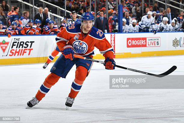 Leon Draisaitl of the Edmonton Oilers skates during the game against the Tampa Bay Lightning on December 17 2016 at Rogers Place in Edmonton Alberta...