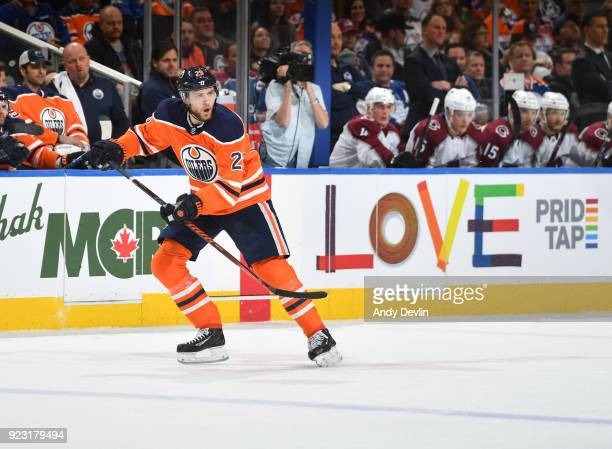Leon Draisaitl of the Edmonton Oilers skates during the game against the Colorado Avalanche on February 22 2018 at Rogers Place in Edmonton Alberta...