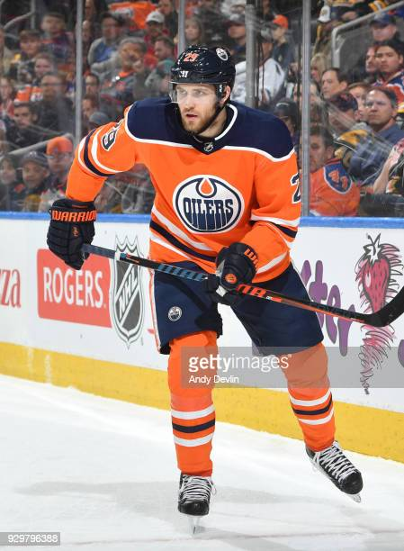 Leon Draisaitl of the Edmonton Oilers skates during the game against the Boston Bruins on February 20 2018 at Rogers Place in Edmonton Alberta Canada