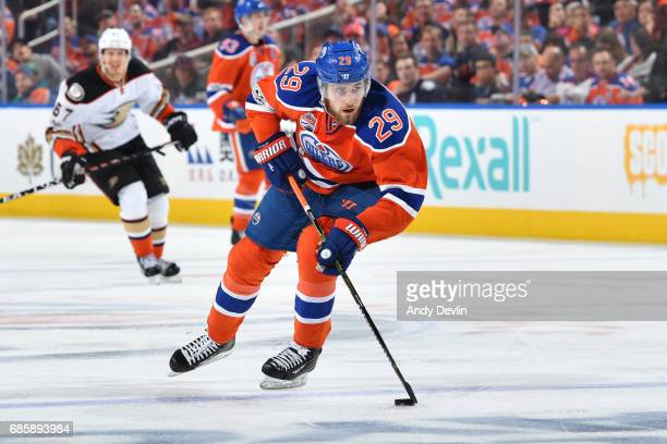 Leon Draisaitl of the Edmonton Oilers skates in Game Three of the Western Conference Second Round during the 2017 NHL Stanley Cup Playoffs against...