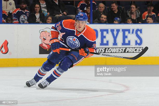 Leon Draisaitl of the Edmonton Oilers skates on the ice during the game against the Arizona Coyotes on December 23 2014 at Rexall Place in Edmonton...