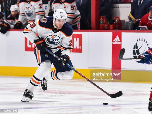 Leon Draisaitl of the Edmonton Oilers skates the puck against the Montreal Canadiens during the NHL game at the Bell Centre on February 3 2019 in...