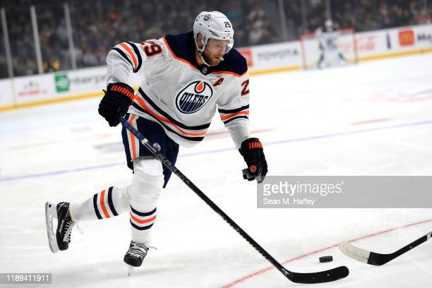 Leon Draisaitl of the Edmonton Oilers skates to the puck during the first period of a game al at Staples Center on November 21 2019 in Los Angeles...