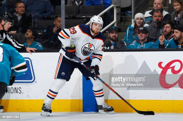 Leon Draisaitl of the Edmonton Oilers skates with the puck against the San Jose Sharks at SAP Center on February 10 2018 in San Jose California