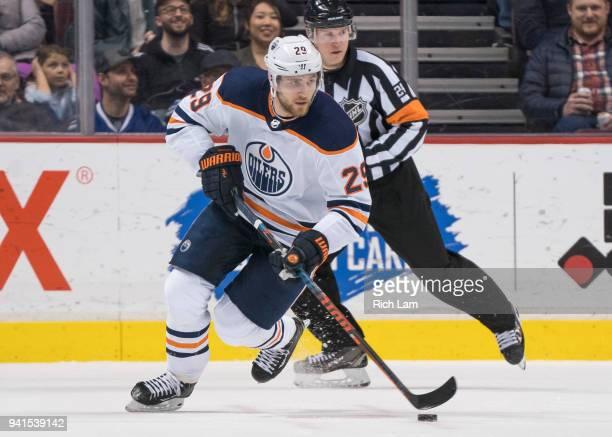 Leon Draisaitl of the Edmonton Oilers skates with the puck in NHL action against the Vancouver Canucks on March 2018 at Rogers Arena in Vancouver...