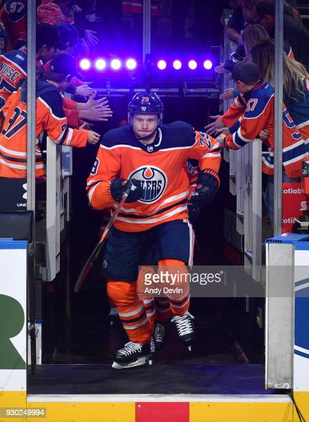 Leon Draisaitl of the Edmonton Oilers steps onto the ice prior to the game against the Minnesota Wild on March 10 2018 at Rogers Place in Edmonton...