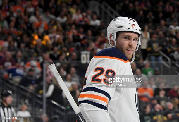 Leon Draisaitl of the Edmonton Oilers takes a break during a stop in play in the second period of a game against the Vegas Golden Knights at TMobile...
