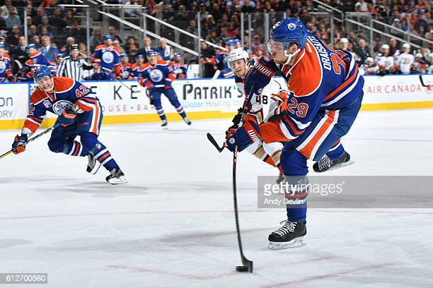 Leon Draisaitl of the Edmonton Oilers takes a shot during a preseason game against the Anaheim Ducks on October 4 2016 at Rogers Place in Edmonton...