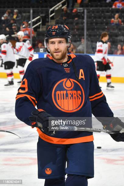 Leon Draisaitl of the Edmonton Oilers warms up prior to the game against the New Jersey Devils on November 8 at Rogers Place in Edmonton Alberta...