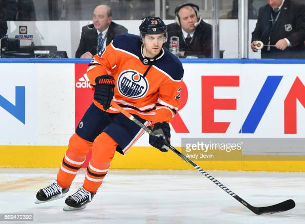 Leon Draisaitl of the Edmonton Oilers warms up prior to the game against the Washington Capitals on October 28 2017 at Rogers Place in Edmonton...