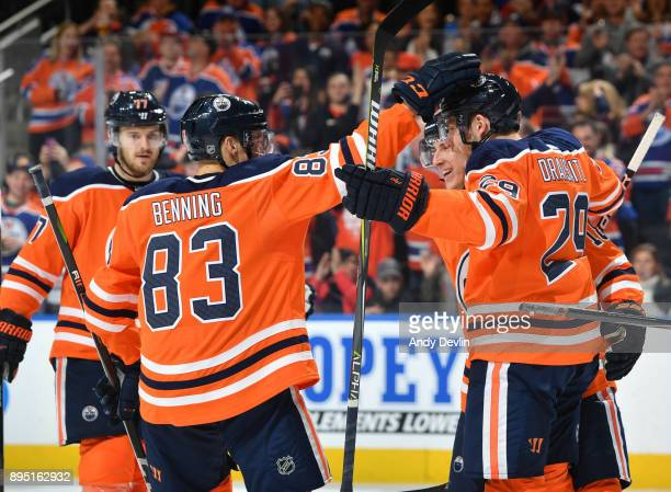 Leon Draisaitl Ryan Strome Matthew Benning and Oscar Klefbom of the Edmonton Oilers celebrate after a goal during the game against the San Jose...