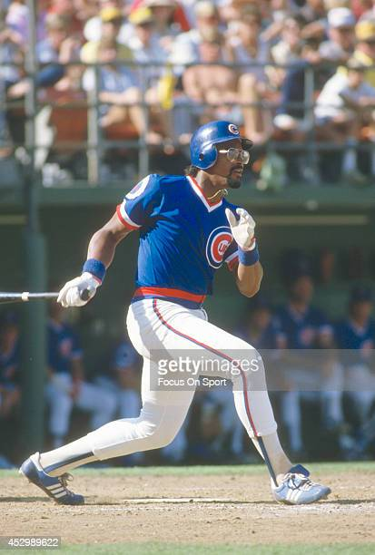 Leon Durham of the Chicago Cubs bats against the San Diego Padres during an Major League Baseball game circa 1984 at Jack Murphy Stadium in San Diego...