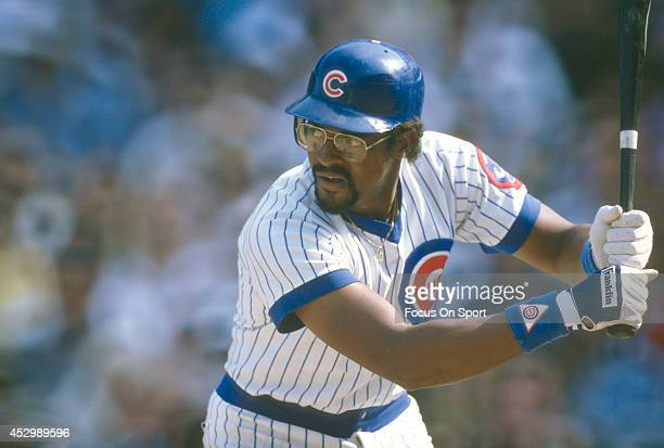 Leon Durham of the Chicago Cubs bats during an Major League Baseball game circa 1984 at Wrigley Field in Chicago Illinois Durham played for the Cubs...