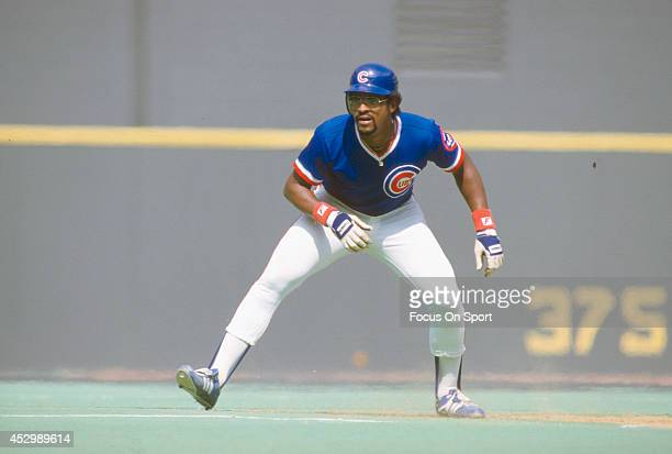 Leon Durham of the Chicago Cubs leads off of second base during an Major League Baseball game circa 1984 Durham played for the Cubs from 198188