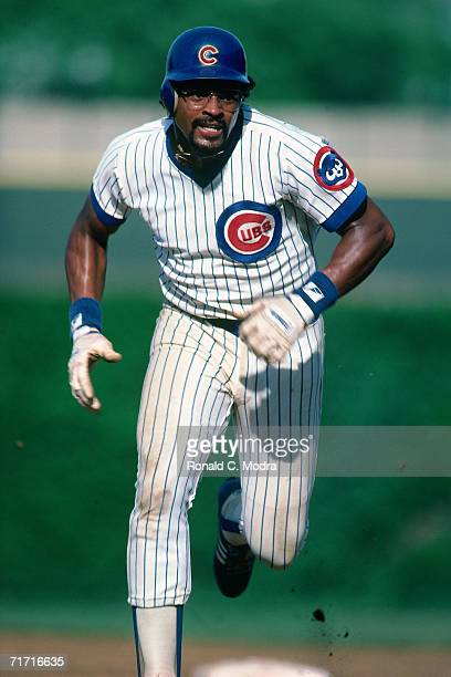 Leon Durham of the Chicago Cubs runs to third base in Wrigley Field during a season game in June 1984 in Chicago Illinois Leon Durham
