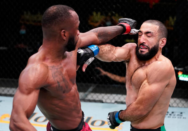 Leon Edwards of Jamaica accidentally pokes the eye of Bulal Muhammad in a welterweight fight during the UFC Fight Night event at UFC APEX on March...
