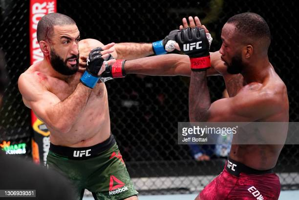 Leon Edwards of Jamaica battles Bulal Muhammad in a welterweight fight during the UFC Fight Night event at UFC APEX on March 13, 2021 in Las Vegas,...