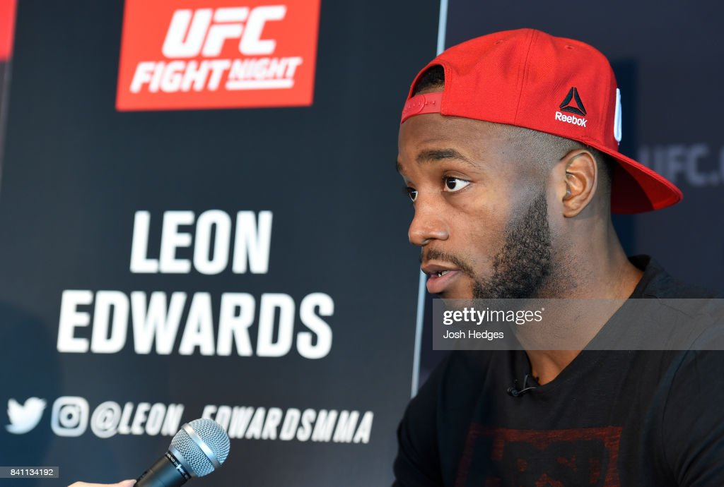 Leon Edwards of Jamaica interacts with media during the UFC Ultimate Media Day at the Inntel Rotterdam Centre Hotel on August 31, 2017 in Rotterdam, Netherlands.