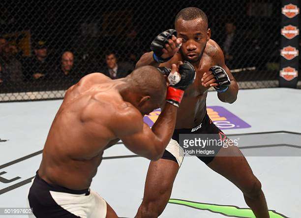 Leon Edwards punches Kamaru Usman in their welterweight bout during the UFC Fight Night event at the Amway Center on December 19 2015 in Orlando...