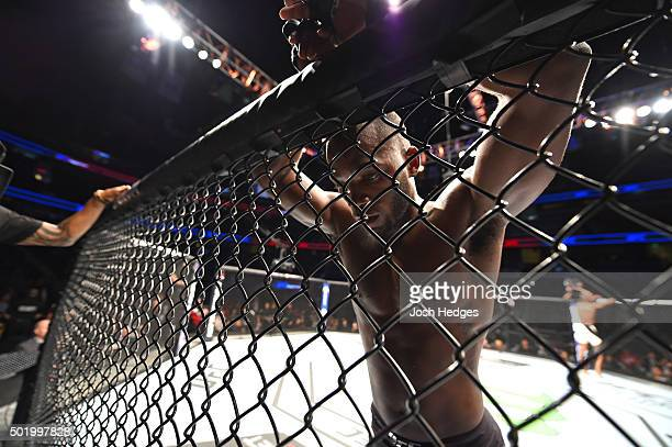 Leon Edwards stands in his corner after facing Kamaru Usman in their welterweight bout during the UFC Fight Night event at the Amway Center on...
