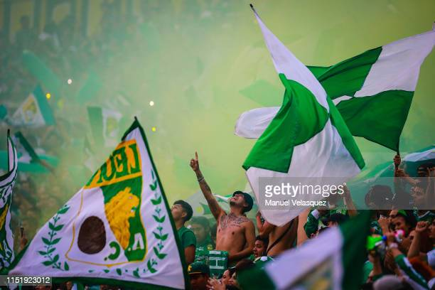 Leon fans cheer during the final second leg match between Leon and Tigres UANL as part of the Torneo Clausura 2019 Liga MX at Leon Stadium on May 26,...