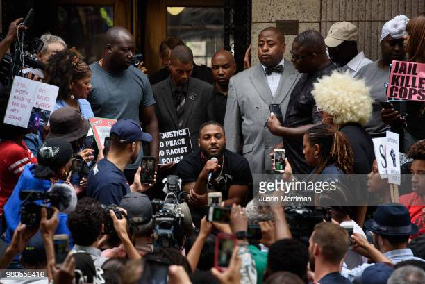 Leon Ford Jr who was shot and paralyzed by Pittsburgh police spoke from a wheelchair at a rally on the stairs of the Allegheny County Courthouse on...