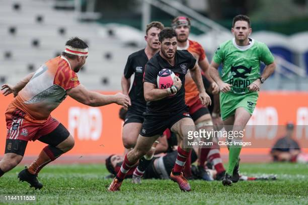 Leon Fukofuka of Asia Pacific Dragons in action during the Global Rapid Rugby match between the South China Tigers and Asia Pacific Dragons at...